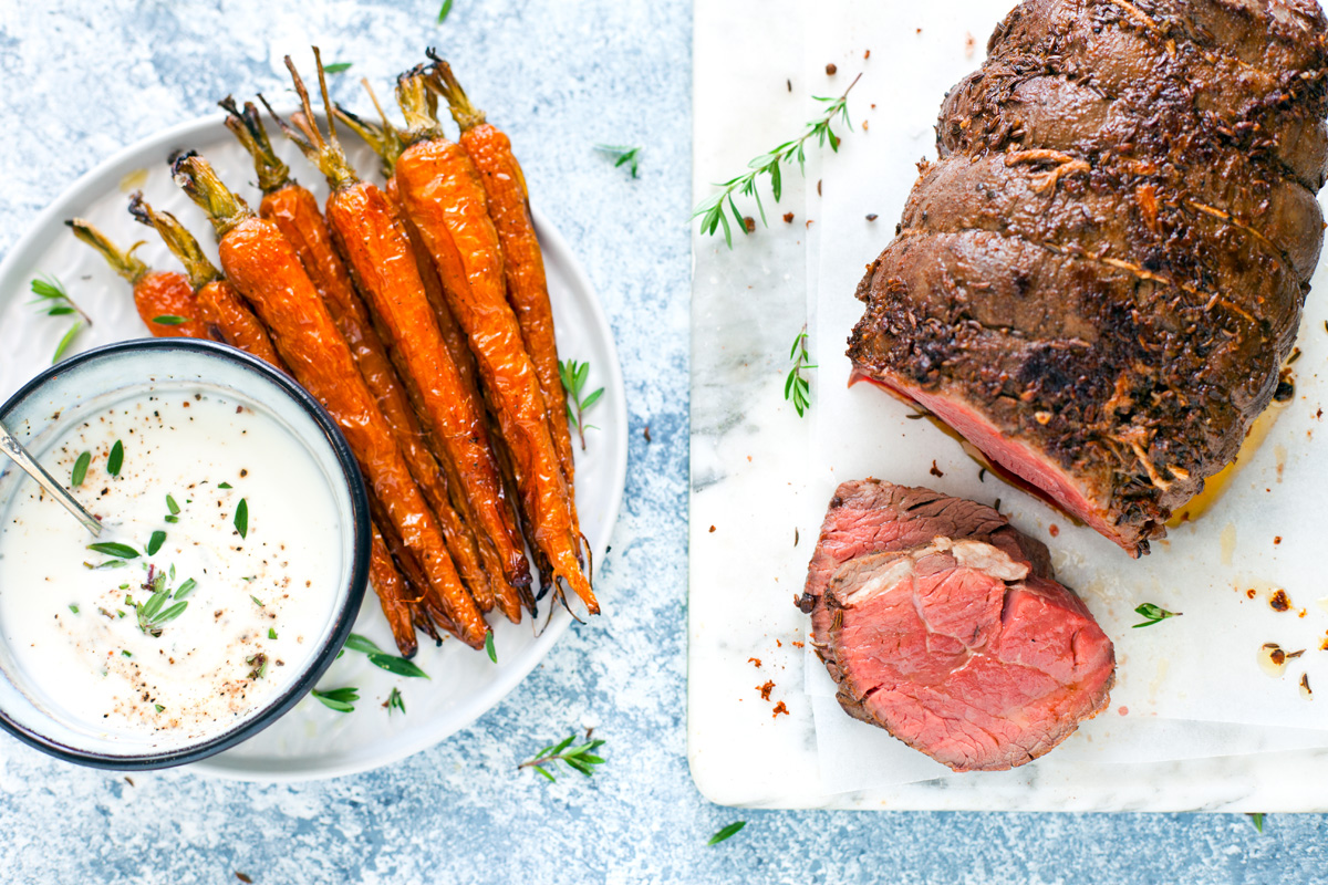 filetto di manzo alle spezie con carote e salsa allo yogurt 7