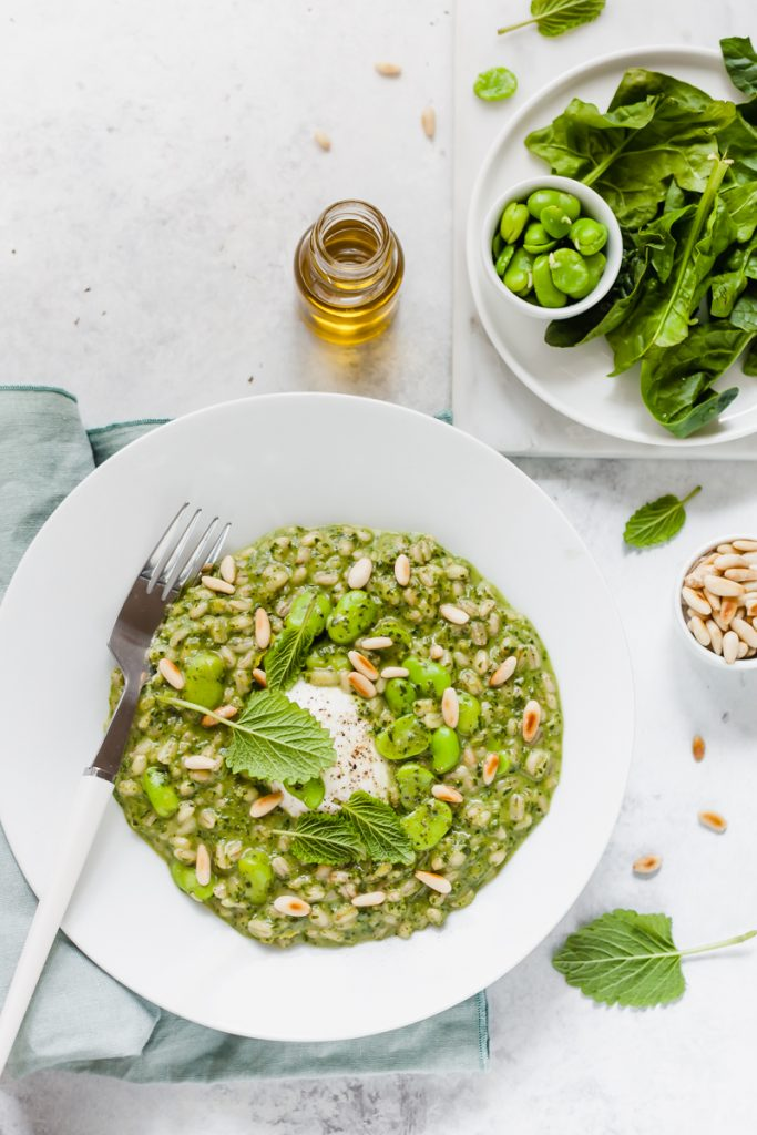 orzotto agli spinaci