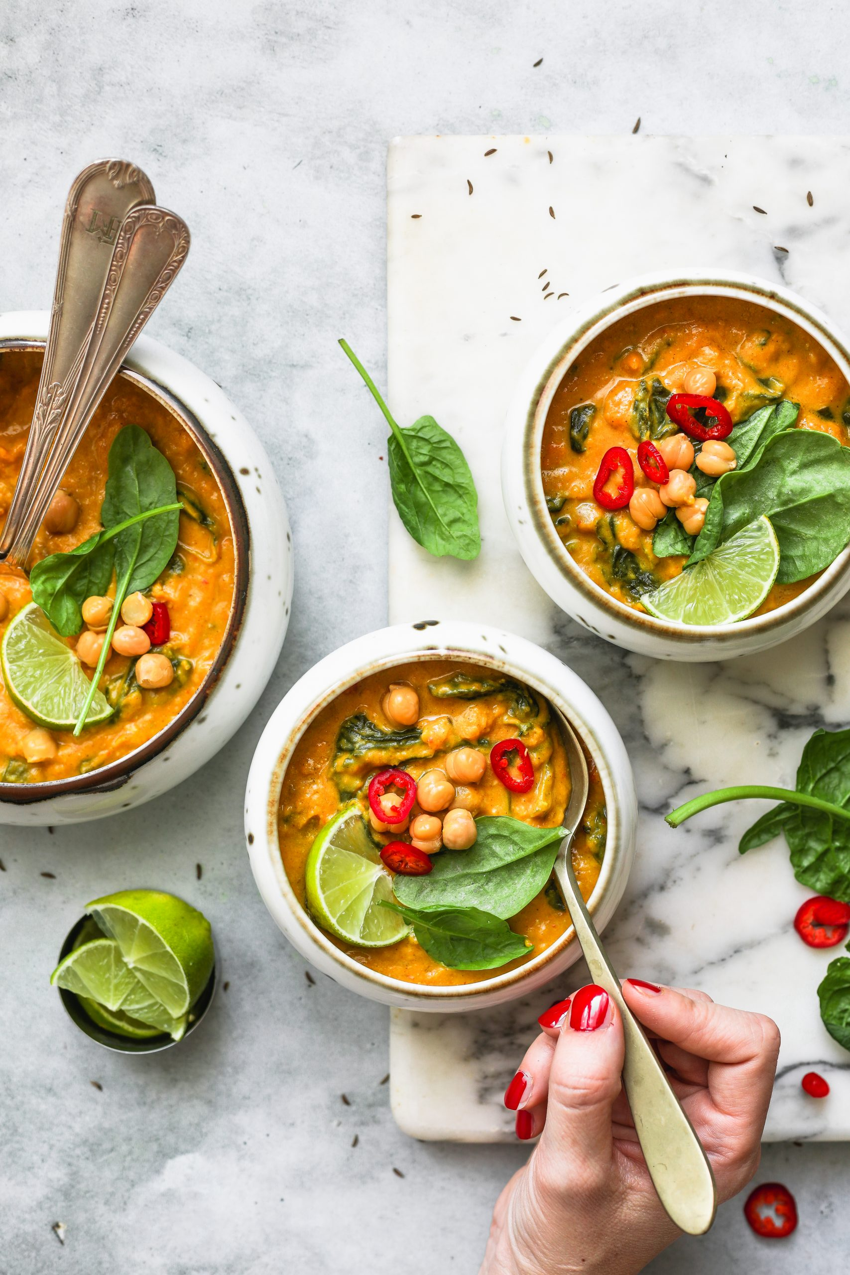 curry di ceci e zucca spinaci-2